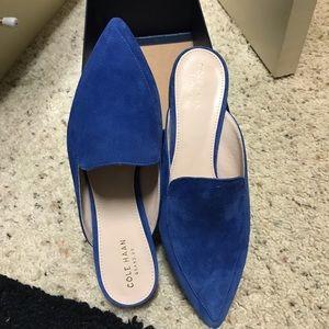 NWT New Cole Hana Piper Mule in blue suede